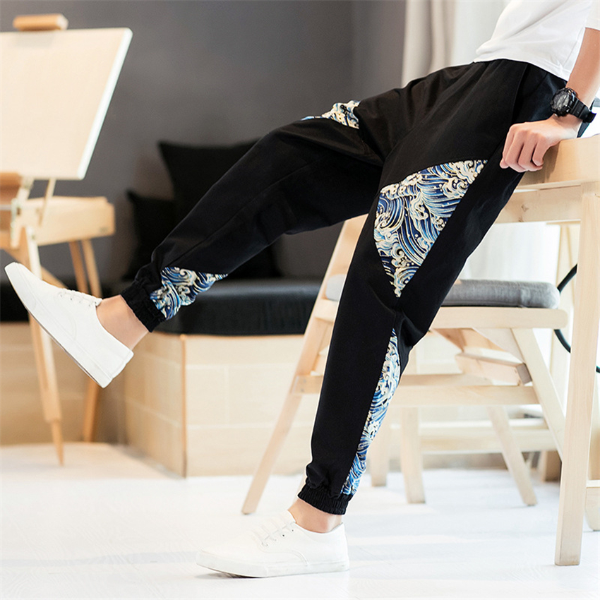 Men Pants Japanese Style Samurai Kimono Cardigan Homme Chinese Clothing Print Wave Cotton Loose Plus Bottoms Adult Trousers
