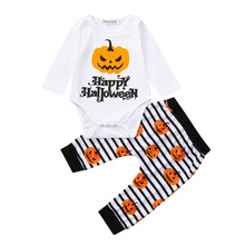 Get more info on the Cute Halloween Newborn Baby Girls Clothes Set  Letter Romper Pants Halloween Costume Outfits Set 9.10
