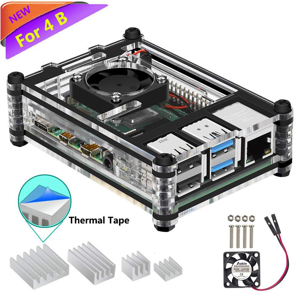 Raspberry Pi 4 Case, Pi 4 Case With Fan Raspberry Pi 4 Heatsink Raspberry Pi 4 Fan For Raspberry Pi 4 Model B/Pi 4 B