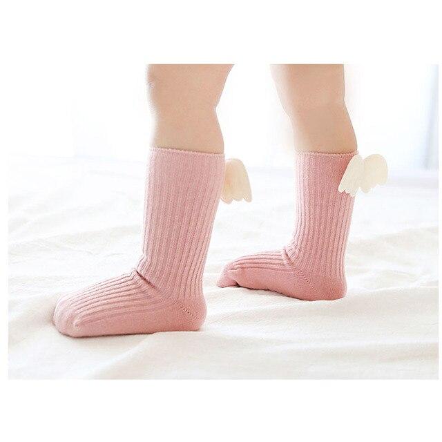 Baby Girls Knee High Socks  Angel wing  Summer Autumn Cotton Socks Solid Candy Color Kids Toddler  Short Socks For Children 3