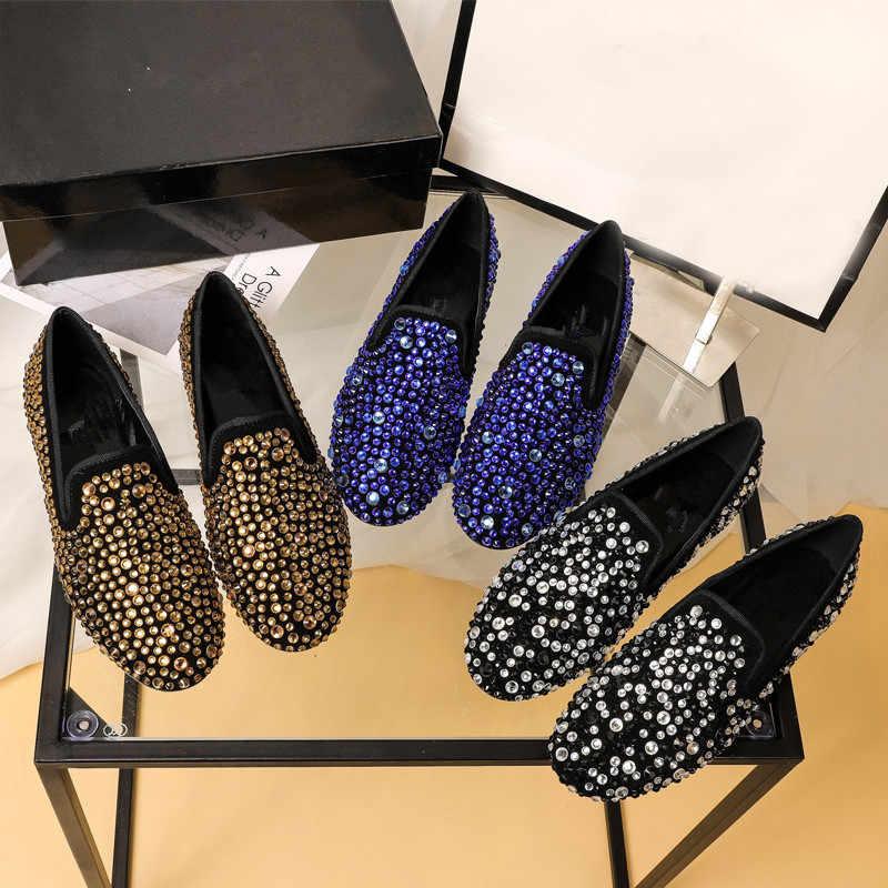 Strass Casual Piatto Scarpe da Donna di Cristallo Zapatos De Mujer di Design di Lusso Mocassini Donne Scivolare su Scarpe da Donna Sapato Feminino