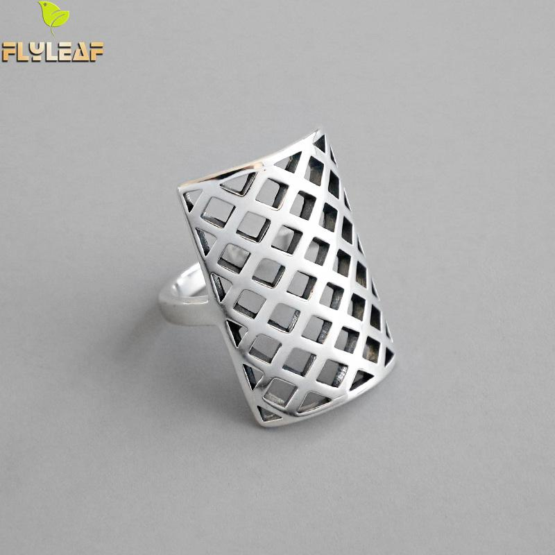Flyleaf Hollow Square Grid Pattern Real 925 Sterling Silver Rings For Women High Quality Fine Jewelry Femme Open Ring Vintage