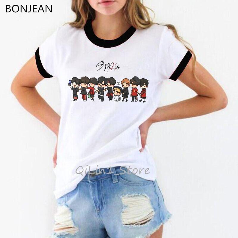 Stray Kids Kpop Tshirt Women Korean Clothes StrayKids Funny T Shirts Hip Hop Harajuku Tshirt Hipster Top Tee Shirt Femme