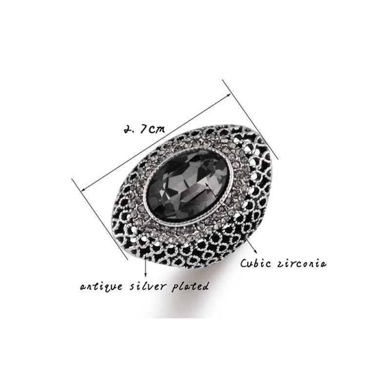 SINLEERY Luxury VINTAGE สีเทา Cubic Zircon ขนาดใหญ่สำหรับหมั้นแต่งงานวันเกิดโบราณเงินสี Jz529