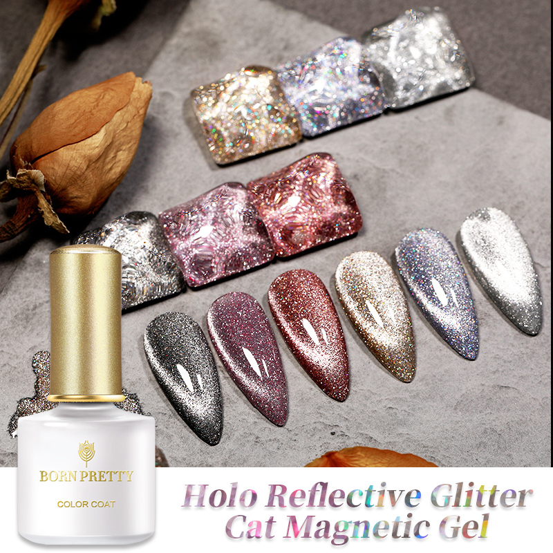 BORN PRETTY 1 Bottle Holo Reflective Glitter Cat Magnetic Gel Holographics Effect Silver Purple Soak Off UV Gel Varnish 6 Colors