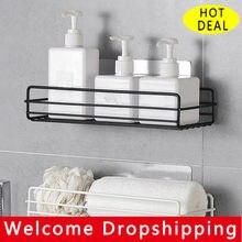 Prateleira do banheiro rack de armazenamento canto organizador chuveiro parede prateleira adesivo sem perfuração ferro cozinha banheiro shelve entrega rápida