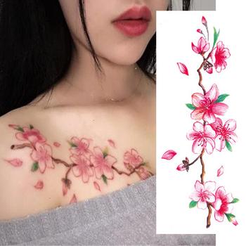 Duża tymczasowa naklejka tatuaż róża kwiaty ramię ramię klatki piersiowej tatuaże do ciała tatuaż kobiety dziewczyny wodoodporny Transfer fałszywe tatuaże tanie i dobre opinie Jedna jednostka CN (pochodzenie) as the picture show 0001 Zmywalny tatuaż 190mmX90mm Flowers