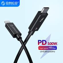 ORICO Thunderbolt 3,0 Kabel USB-C zu C 40Gbps Daten Transfer 8K @ 60Hz HD 5A 100W für Samsung S10 Xiaomi Typ-C Macbooks