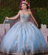 Céu azul vestido de baile 15 anos vestidos quinceanera com cabo renda apliques espartilho doce 16 vestido abita da cerimonia