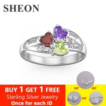 SHEON Authentic 925 Sterling Silver Personalized custom Heart Birthstone Engraved Names Ring for Women Jewelry