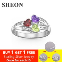 SHEON Authentic 925 Sterling Silver Personalized custom Heart Birthstone Engraved Names Ring for Women Sterling Silver Jewelry