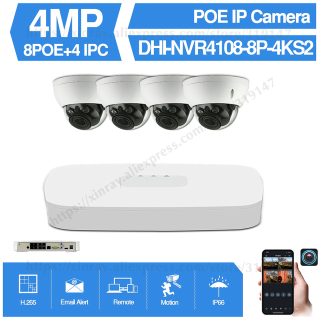 Dahua 4MP 8+4 Security CCTV Camera Kit NVR4108 8P 4KS2 IP Camera IPC HDBW4433R ZS 5X ZOOM P2P Surveillance Kits Easy Install