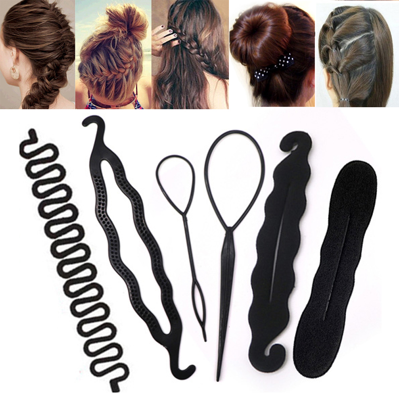 Professional Hair Braiding Tool Hair Twist Curler Styling Set For Women Girls Holding HairBraiders Hair Bun Maker Clip Ponytail