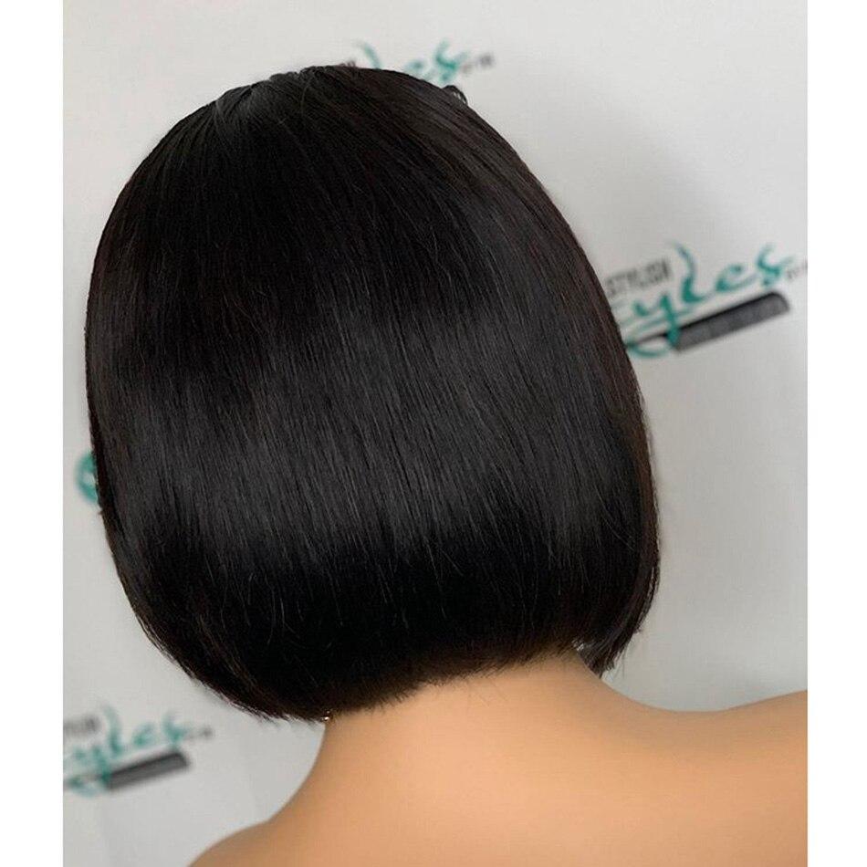 150 плотность глубокие боковые пряди Боб шелковистые прямые человеческие волосы 13x6 Синтетические волосы на кружеве парики с предварительно выщипанные волосы Волосы remy среднего соотношение - 4