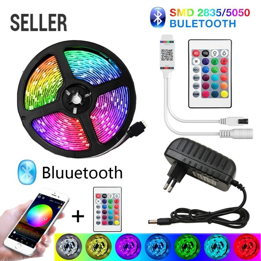 Продаваемая Блютуз-Светодиодные ленты светильник s 20 м RGB 5050 SMD гибкая лента Водонепроницаемый RGB светодиодный светильник 5 м 10 м клейкие диод...