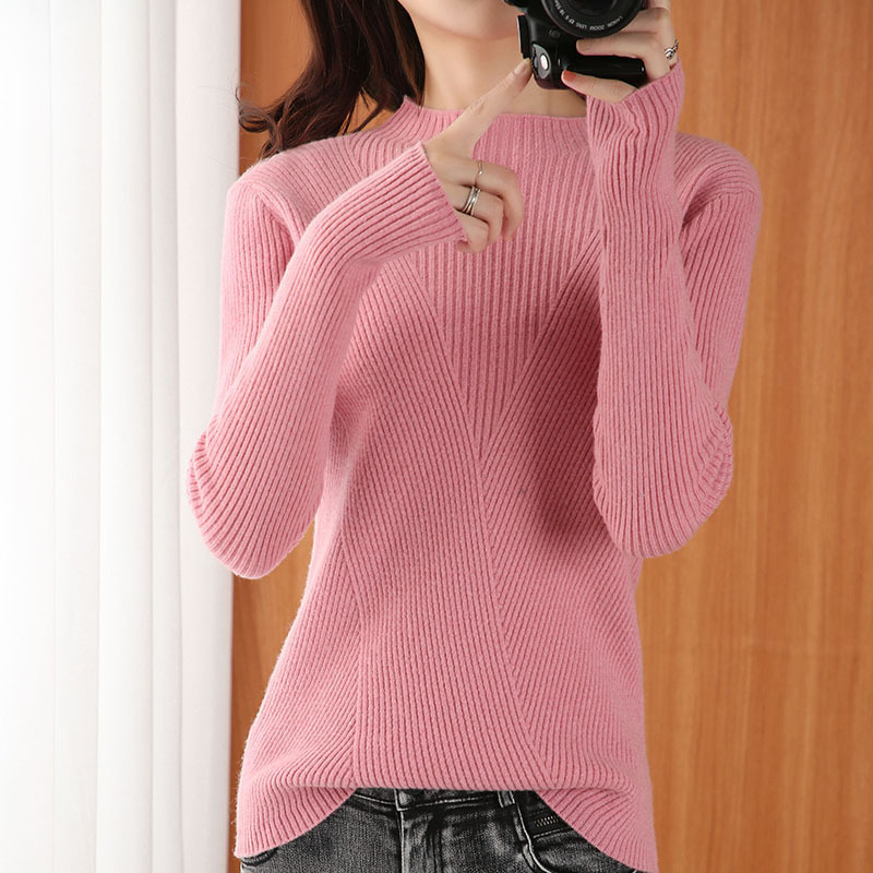 Sparsil Women Winter Turtleneck 100% Wool Sweater Knitted Pulloves Woolen Base Shirt Solid Color Slim Style Cashmere Knitwear