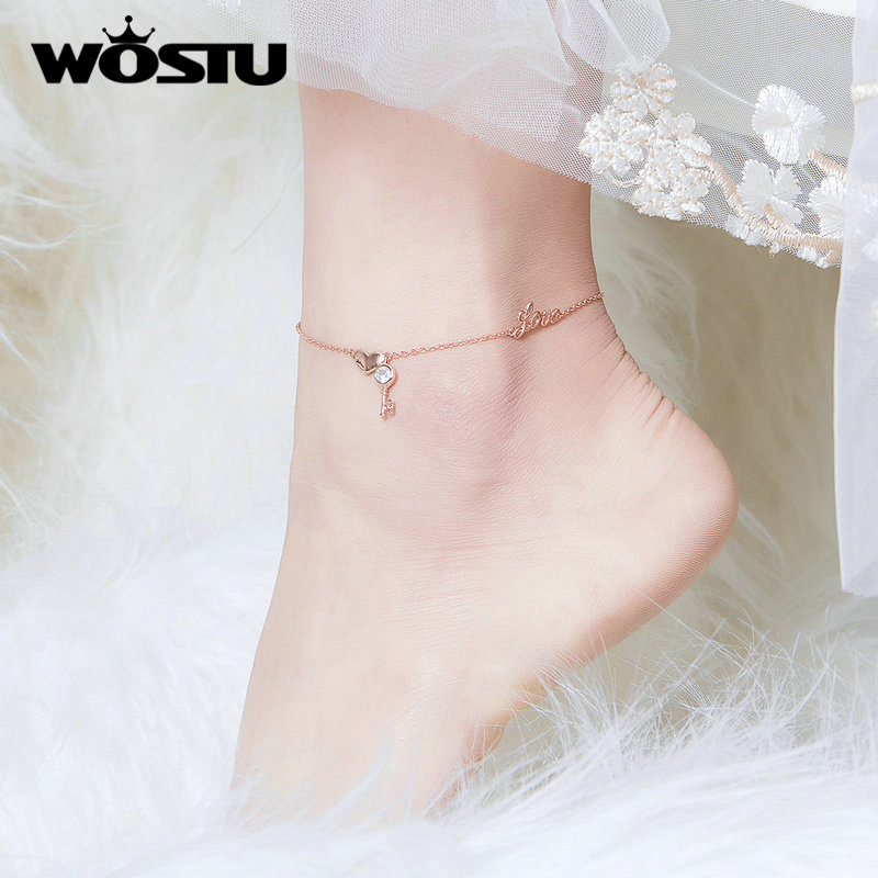WOSTU 100% Real 925 Sterling Silver Heartslock Anklet Classic Rose Golden Color CZ Anklet For Women Jewelry Gift CTT001