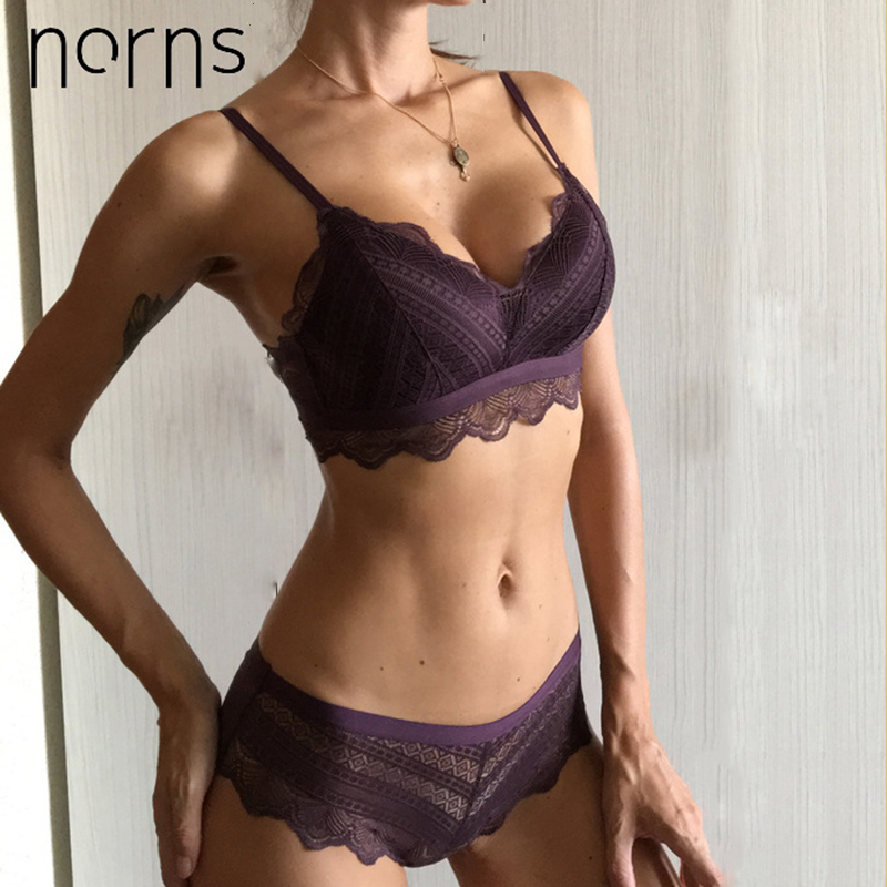 Norns Without Stones Bra Sexy Lace Breathable Comfortable Women Underwear Set Unlined Push Up Bra Set Fashion Active Lingerie