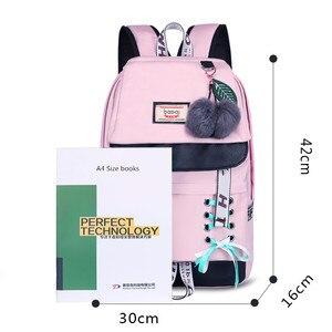 Image 3 - Fengdong moda preto rosa impermeável náilon mochila escolar para meninas estilo coreano mochila bonito bowknot crianças sacos de escola
