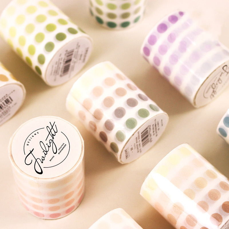 Cute Candy Color Washi Tape Kawaii Decorative Adhesive Tape Dot Masking Tapes For Kids Scrapbooking DIY Photos Albums Supplies
