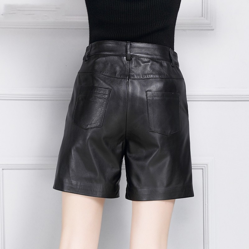 Autumn New Fashion Women Shorts Genuine Leather High Waist Casual High Street Office Lady Straight Sheepskin Black Trouser Woman