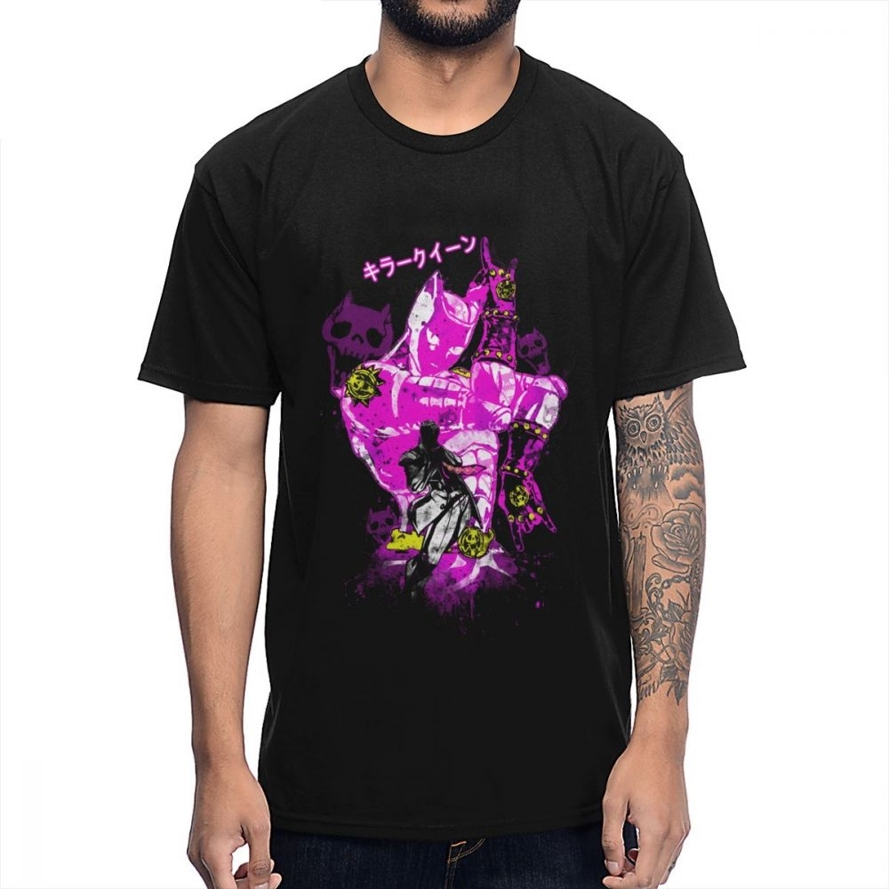 For Man Killer Queen JoJo Bizarre Adventure Tee Shirt Unique Design O-neck Natural Cotton T Shirt Wholesale