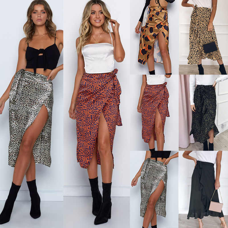 2019 Eleghant Women Ladies Midi Leopard Skirts High Waist Lace Up Bodycon Skirts Fashion Side Slit Mid Calf Pencil Skirts Aliexpress