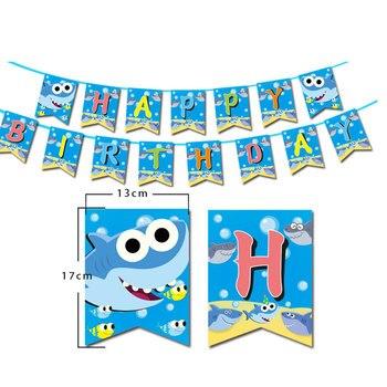 Tiburones bebé DIY Banner de fiesta de niños lindo cartón número colgante cumpleaños Cupcake Topper decoración cartas