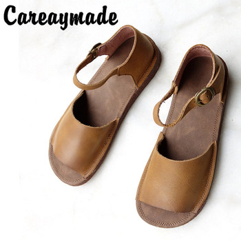 Careaymade-2020 new head layer cowhide pure handmade shoes, the retro art mori girl shoes,Women's casual Sandals,size 4.5-8