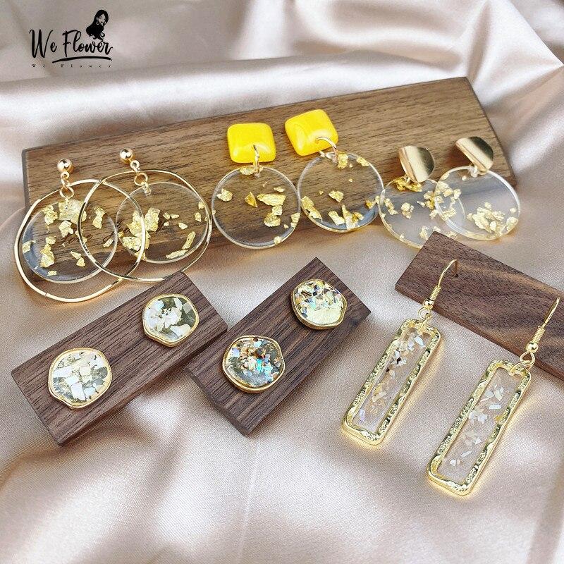 We Flower Geometric Clear Acrylic Earrings For Women Trendy Statement Earrings Gold Engagement Party OL Earring Brincos Jewelry