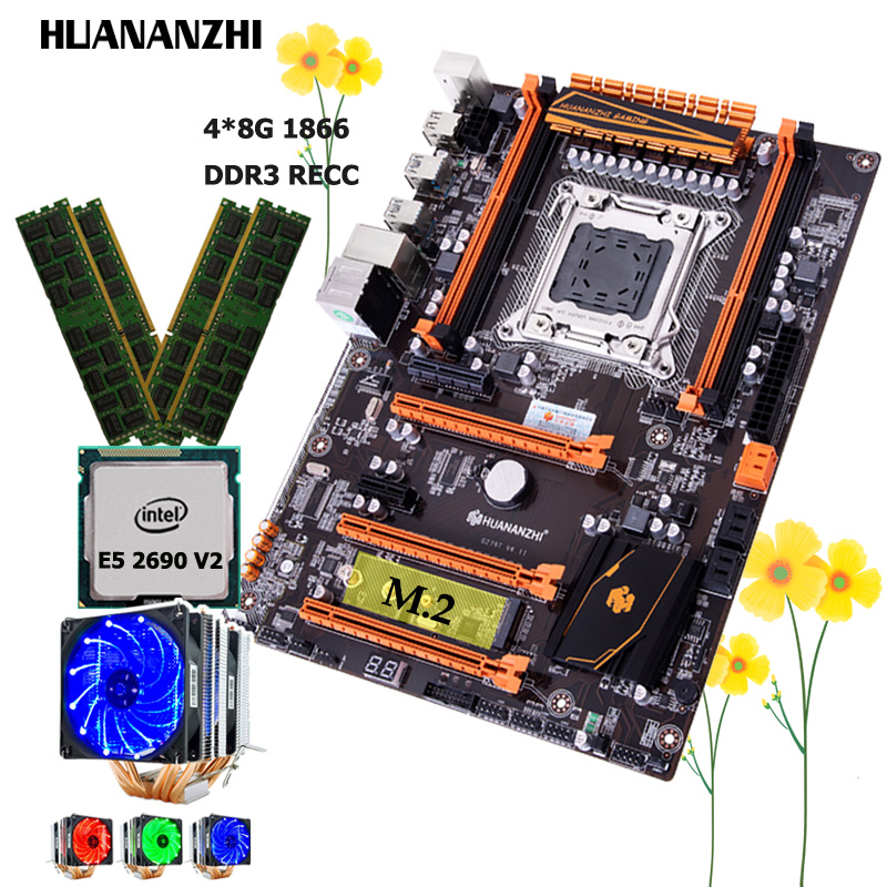 HUANANZHI deluxe X79 LGA2011 motherboard with M.2 slot good motherboard with Xeon CPU E5 2690 V2 3.0GHz RAM 32G(4*8G) 1866 RECC 1