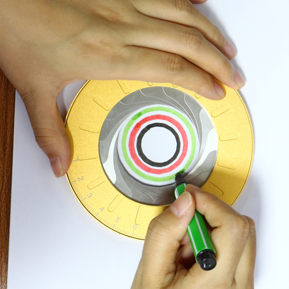 Round Circle Tool Adjustable Measurement Stainless Steel Creative Drawing Ruler With Size Measure Marks Party Baking