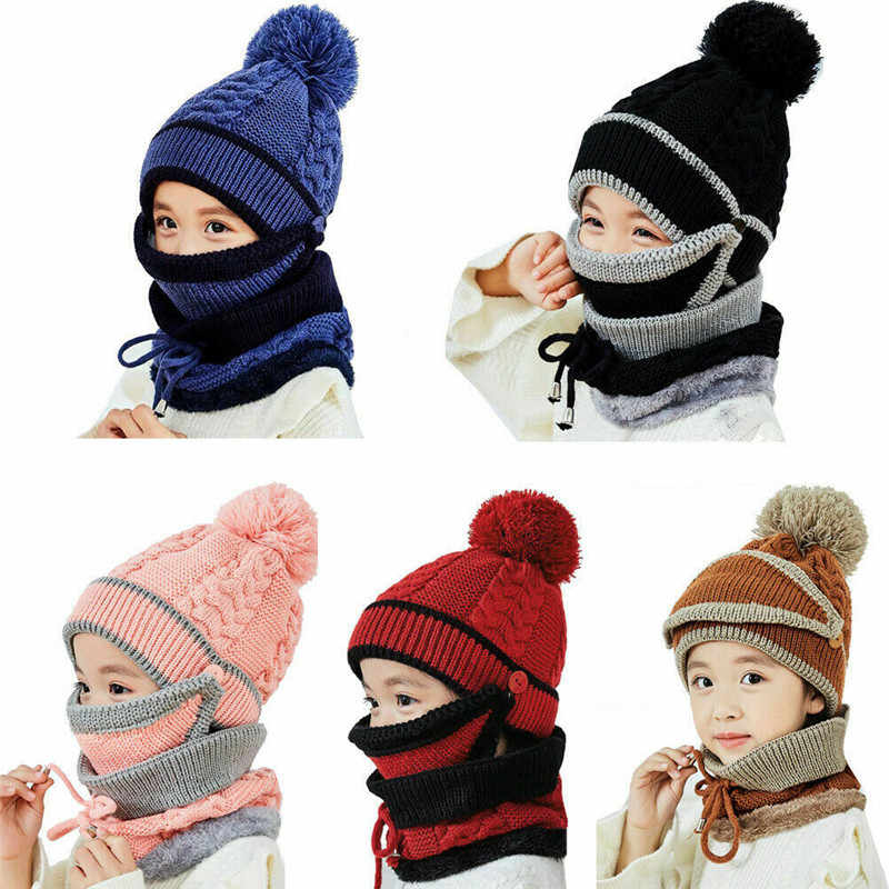 Infant Toddler Winter Hat Scarf Set for Baby Girl Knitted Warm Fleece Lined Skiing Cap Lovely Pompom Kids Beanie 0-24 Months