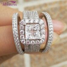 여자를위한 Wuziwen 헤일로 결혼 반지 세트 3Pcs 굵게 925 스털링 실버 약혼 반지 크로스 공주 컷 지르콘 클래식 쥬얼리
