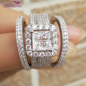 Image 1 - Wuziwen Halo חתונת טבעת סט לנשים 3Pcs מודגש 925 סטרלינג כסף אירוסין טבעות צלב נסיכה לחתוך זירקון קלאסי תכשיטים