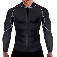 palicy Mens Neoprene Sweat Sauna Burning Body Shaper Slimming Weight Sports Long sleeve Fitness Coat shirt Shape Wear Trainer