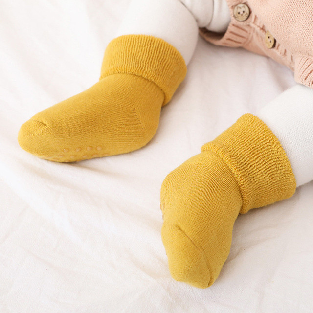 Newborn Baby Socks Terry Anti Slip Socks for Baby Winter Warm Thick Baby Girls Boys Socks Solid Infant Clothes Accessories