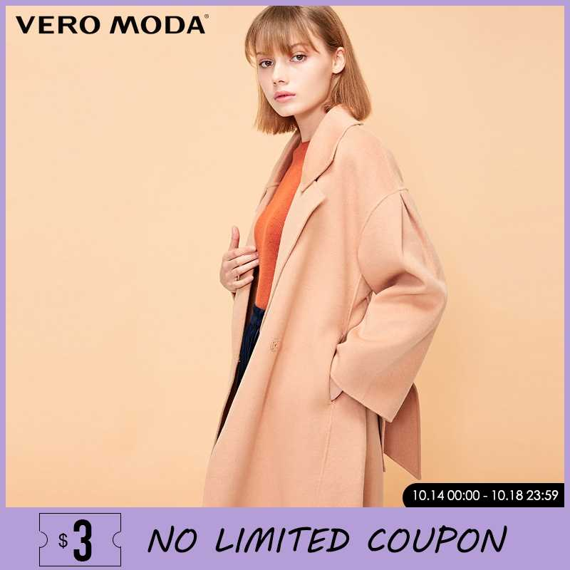 Vero Moda Autumn Winter Drop-shoulder Women Belted Wool Coat Overcoat | 318327563
