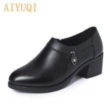 AIYUQI bayan ayakkabı ilkbahar 2021 yeni büyük boy 41 42 43 orta topuklu kadın moda ayakkabılar hakiki Lenather ayakkabı kadın