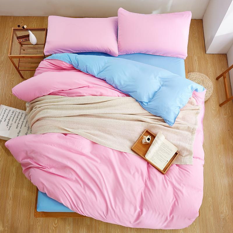 Light Pink with Light Blue Plain Color Linen Bedding Sets