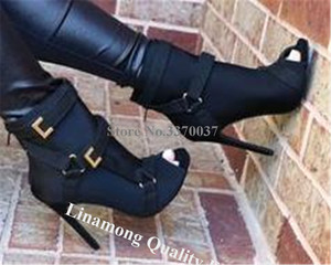Image 3 - 新デザイン女性のファッションピープトウスエード革小剣のブーツバックルストラップ黒アーミーグリーンハイヒールの足首ブーツ