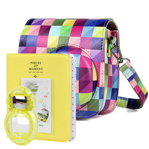 Image 1 - New Fujifilm Instax Mini 9 Yellow Camera Accessories Bundle Kit Shoulder Bag Case Photo Album Film Frame Filters Selfie Lens Set