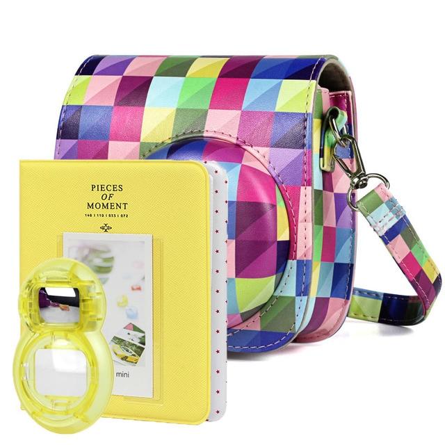 New Fujifilm Instax Mini 9 Yellow Camera Accessories Bundle Kit Shoulder Bag Case Photo Album Film Frame Filters Selfie Lens Set
