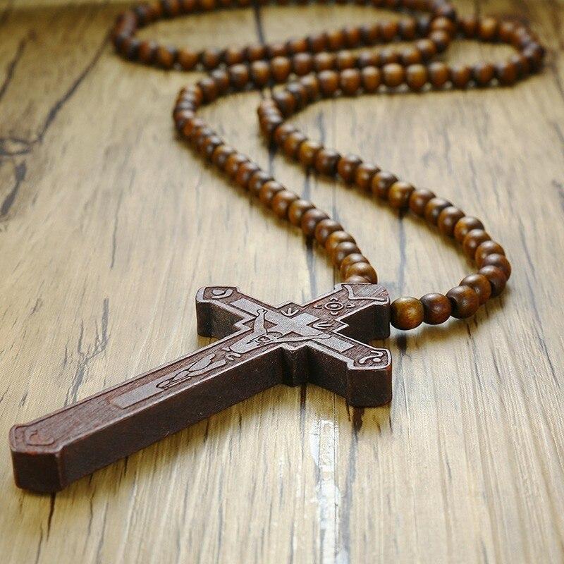 Light Brown wood cross long necklace big huge cross pendant wooden bead beaded