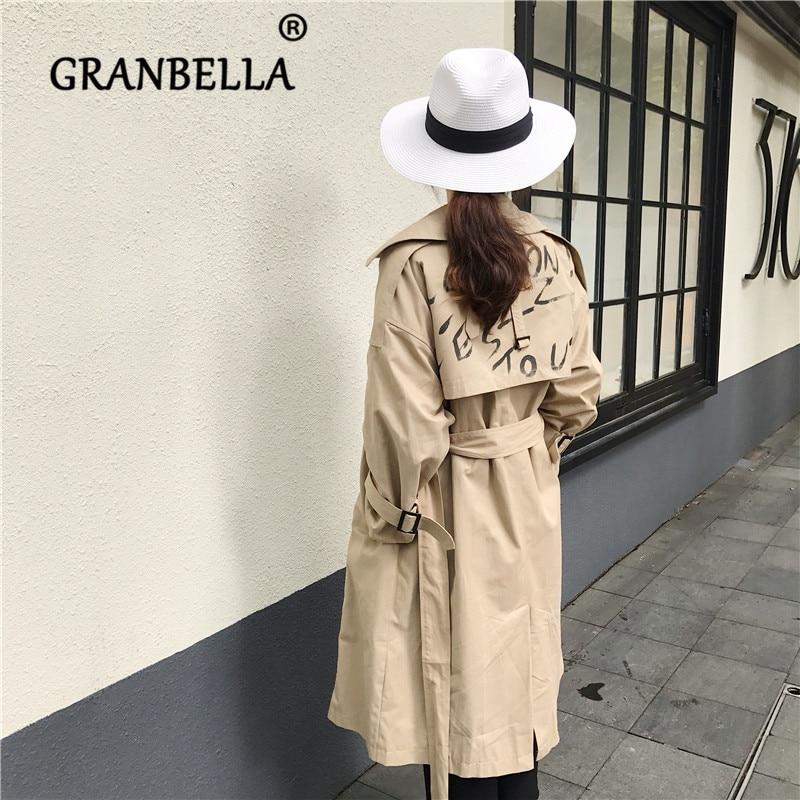 Korean letter print women's   trench   coats belt overcoat women gabardina elegante mujer letter ветровка женская
