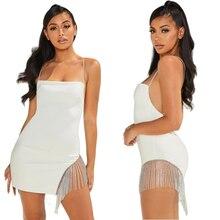 Vestido corto femenino de verano sin mangas con cuello Halter, traje Sexy sin mangas para Mujer, Espalda descubierta, color Blanco