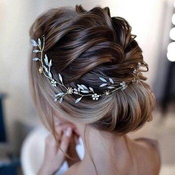Artifical Moonstone Leaf Pearl Flower Headband Earring Set Bride Hair Piece Bridal Tiara Crown Hairband Wedding Hair Accessories