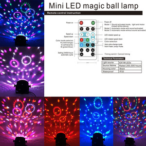 Image 3 - Mini Remote RGB LED Crystal Magic Rotating Ball Stage Lights Sound Activated Disco Light Music Christmas KTV Party EU/US/UK Plug