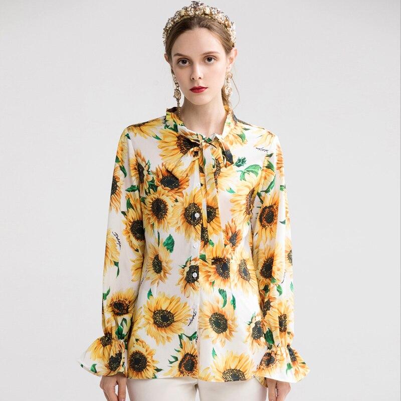 Nouvelle piste Designer blouse décontractée femmes élégant printemps à manches longues tournesol imprimé arc col hauts chemises