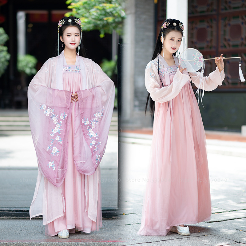 Woman Chinese Traditional Hanfu Tang Suit Dance Performance Costumes Flower Embroidery Oriental Ancient Dynasty Princess Dress